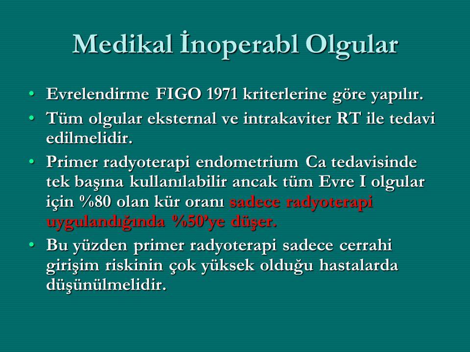 Medikal İnoperabl Olgular Evrelendirme FIGO 1971 kriterlerine göre yapılır.Evrelendirme FIGO 1971 kriterlerine göre yapılır. Tüm olgular eksternal ve