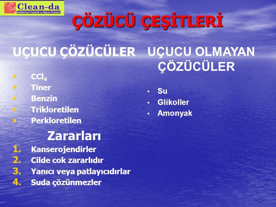 2) Çözücü Etkisi ÇÖZÜCÜLER H+H+ H+H+ O-O- Na + + NaCl OH 2 H2OH2O H2OH2O H2OH2O H2OH2O Cl - H2OH2O H2OH2O H2OH2O H2OH2O H2OH2O OH 2 UÇUCU ÇÖZÜCÜLER (SOLVENTLER) UÇUCU OLMAYAN ÇÖZÜCÜLER