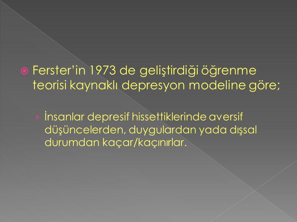  Ferster'in 1973 de geliştirdiği öğrenme teorisi kaynaklı depresyon modeline göre; › İnsanlar depresif hissettiklerinde aversif düşüncelerden, duygul
