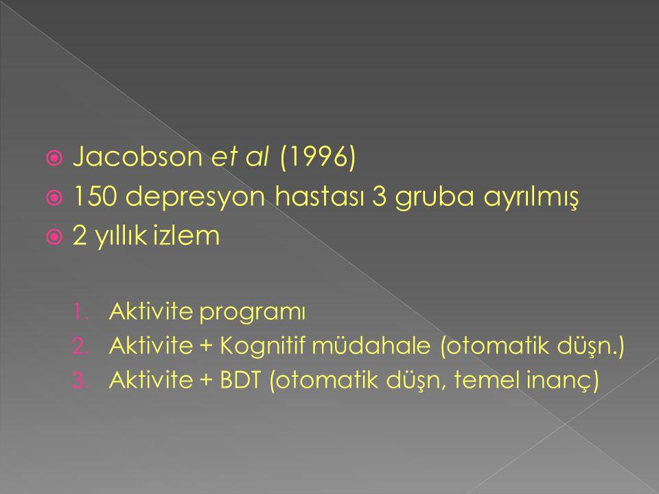  Jacobson et al (1996)  150 depresyon hastası 3 gruba ayrılmış  2 yıllık izlem 1. Aktivite programı 2. Aktivite + Kognitif müdahale (otomatik düşn.