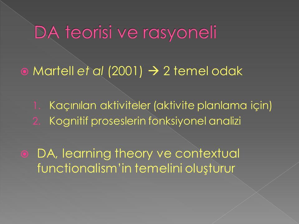  Martell et al (2001)  2 temel odak 1. Kaçınılan aktiviteler (aktivite planlama için) 2. Kognitif proseslerin fonksiyonel analizi  DA, learning the