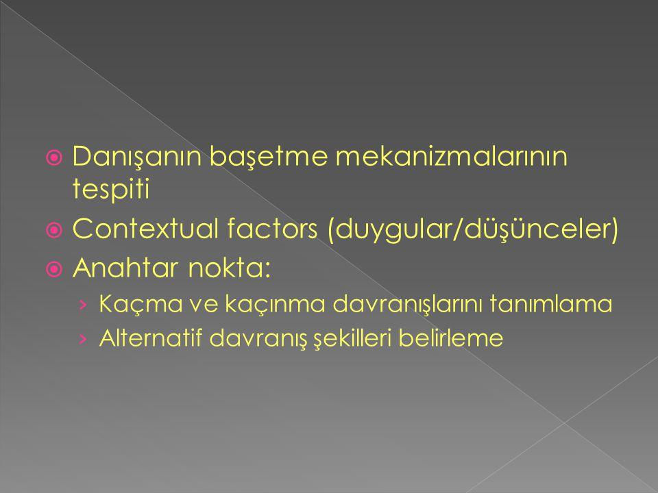  Danışanın başetme mekanizmalarının tespiti  Contextual factors (duygular/düşünceler)  Anahtar nokta: › Kaçma ve kaçınma davranışlarını tanımlama ›
