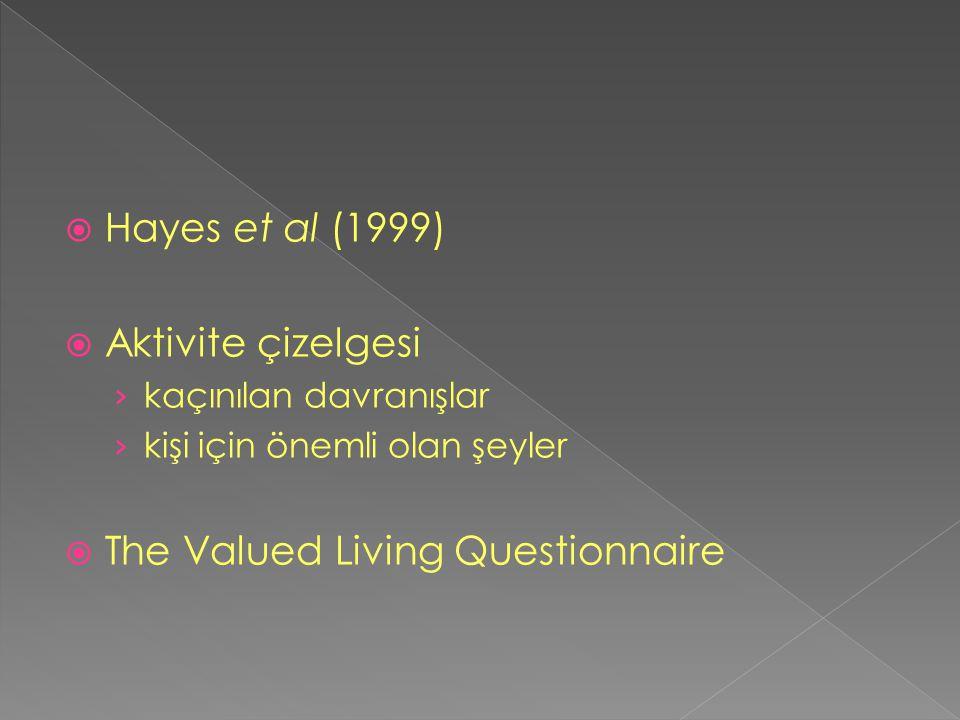  Hayes et al (1999)  Aktivite çizelgesi › kaçınılan davranışlar › kişi için önemli olan şeyler  The Valued Living Questionnaire