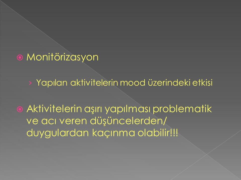  Monitörizasyon › Yapılan aktivitelerin mood üzerindeki etkisi  Aktivitelerin aşırı yapılması problematik ve acı veren düşüncelerden/ duygulardan ka