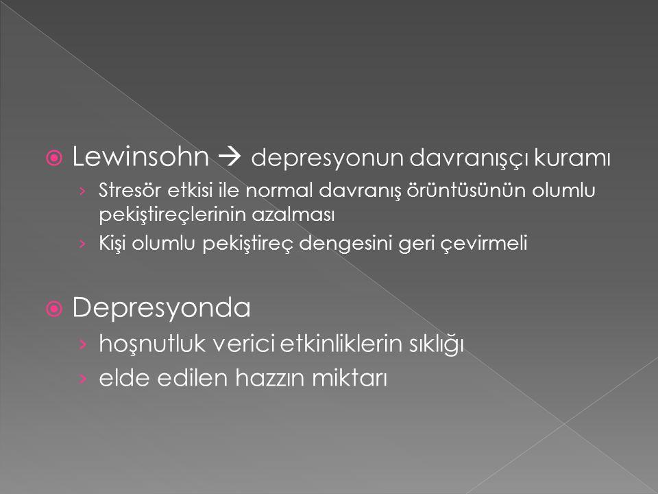 Depresyonun davranışçı modeli 1.Depresyonun sürmesine yol açan davranışların söndürülmesi 2.