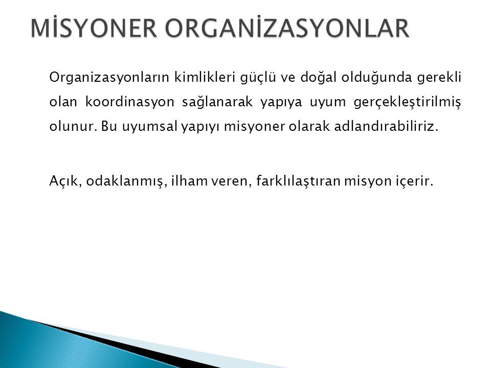 Organizasyonların kimlikleri güçlü ve doğal olduğunda gerekli olan koordinasyon sağlanarak yapıya uyum gerçekleştirilmiş olunur.