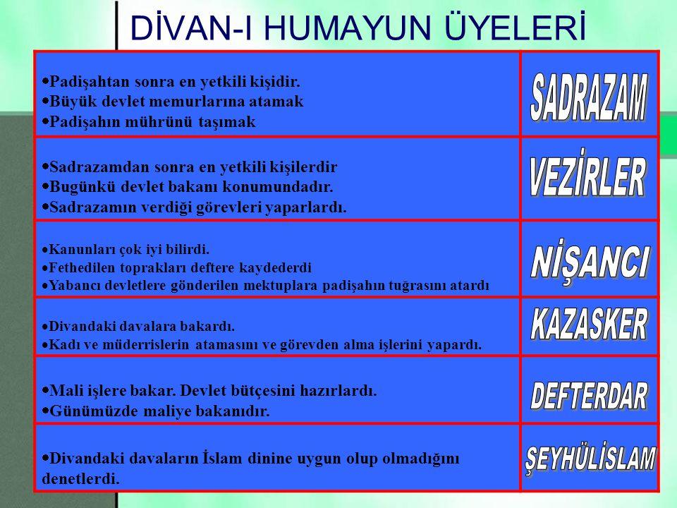 24 Şimdide Divan-ı Hümayun üyelerinin görevlerini tekrar hatırlayalım…