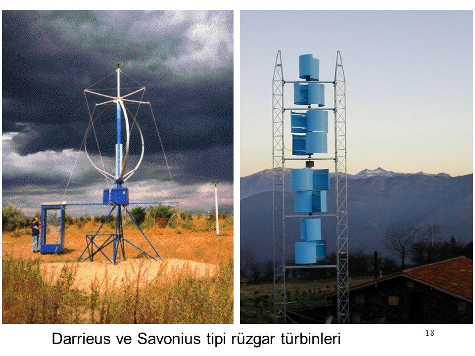 18 Darrieus ve Savonius tipi rüzgar türbinleri
