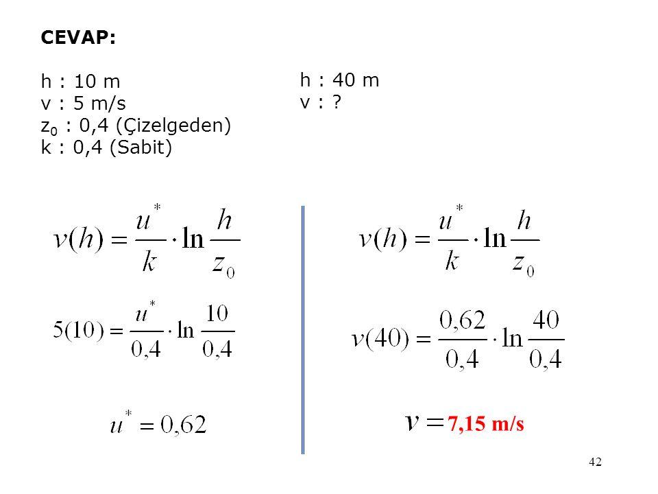 42 CEVAP: h : 10 m v : 5 m/s z 0 : 0,4 (Çizelgeden) k : 0,4 (Sabit) 7,15 m/s h : 40 m v : ?