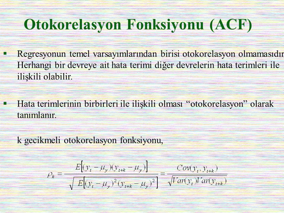 Otokorelasyon Fonksiyonu (ACF)  Regresyonun temel varsayımlarından birisi otokorelasyon olmamasıdır. Herhangi bir devreye ait hata terimi diğer devre