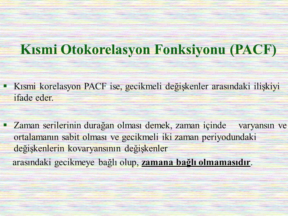 Kısmi Otokorelasyon Fonksiyonu (PACF)  Kısmi korelasyon PACF ise, gecikmeli değişkenler arasındaki ilişkiyi ifade eder.  Zaman serilerinin durağan o