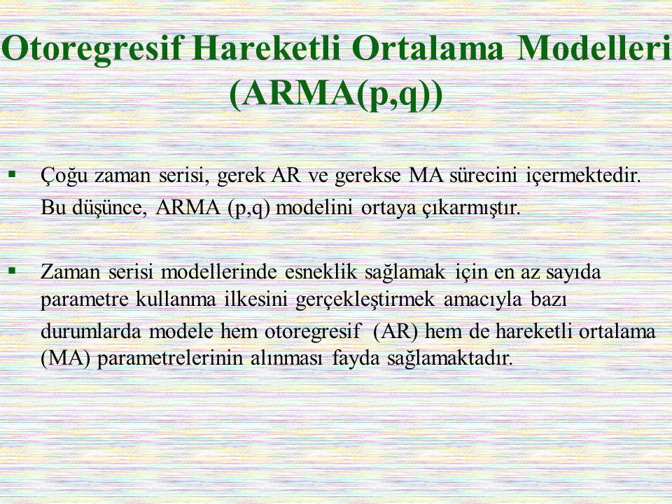 Otoregresif Hareketli Ortalama Modelleri (ARMA(p,q))  Çoğu zaman serisi, gerek AR ve gerekse MA sürecini içermektedir. Bu düşünce, ARMA (p,q) modelin