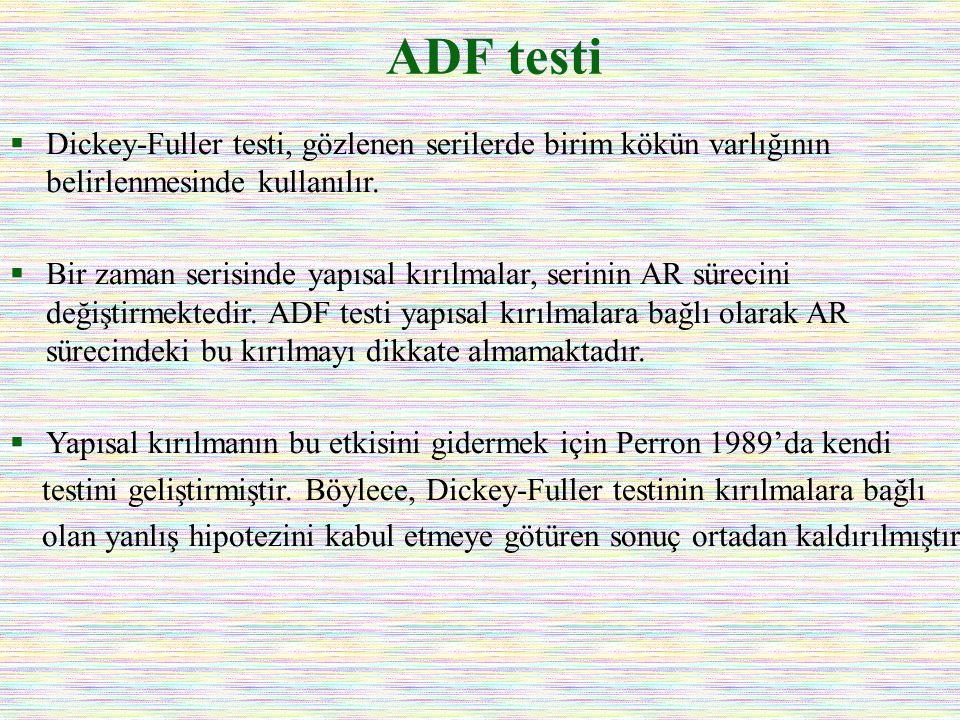 ADF testi  Dickey-Fuller testi, gözlenen serilerde birim kökün varlığının belirlenmesinde kullanılır.  Bir zaman serisinde yapısal kırılmalar, serin