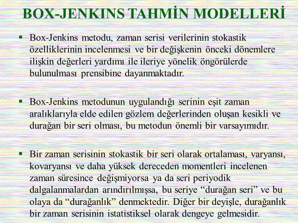 BOX-JENKINS TAHMİN MODELLERİ  Box-Jenkins metodu, zaman serisi verilerinin stokastik özelliklerinin incelenmesi ve bir değişkenin önceki dönemlere il