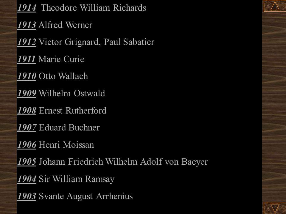 1930 Hans Fischer 1929 Arthur Harden, Hans Karl August Simon von Euler- Chelpin 1928 Adolf Otto Reinhold Windaus 1927 Heinrich Otto Wieland 1926 The (