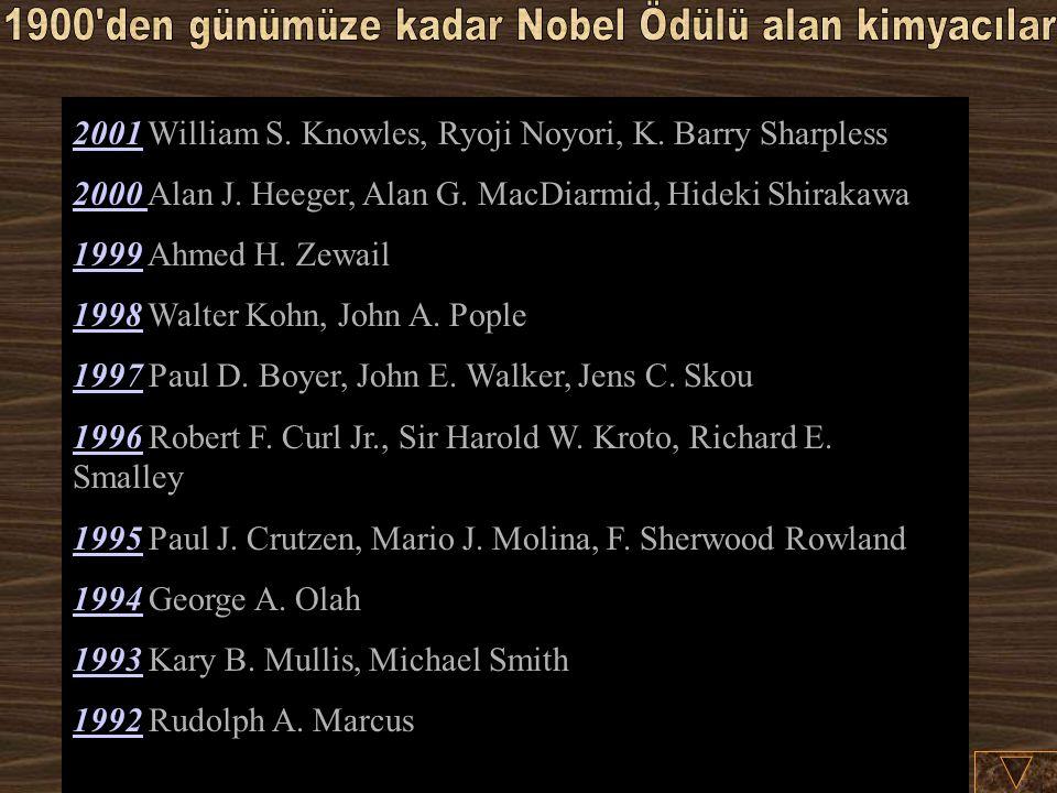 20012001 William S.Knowles, Ryoji Noyori, K. Barry Sharpless 2000 2000 Alan J.