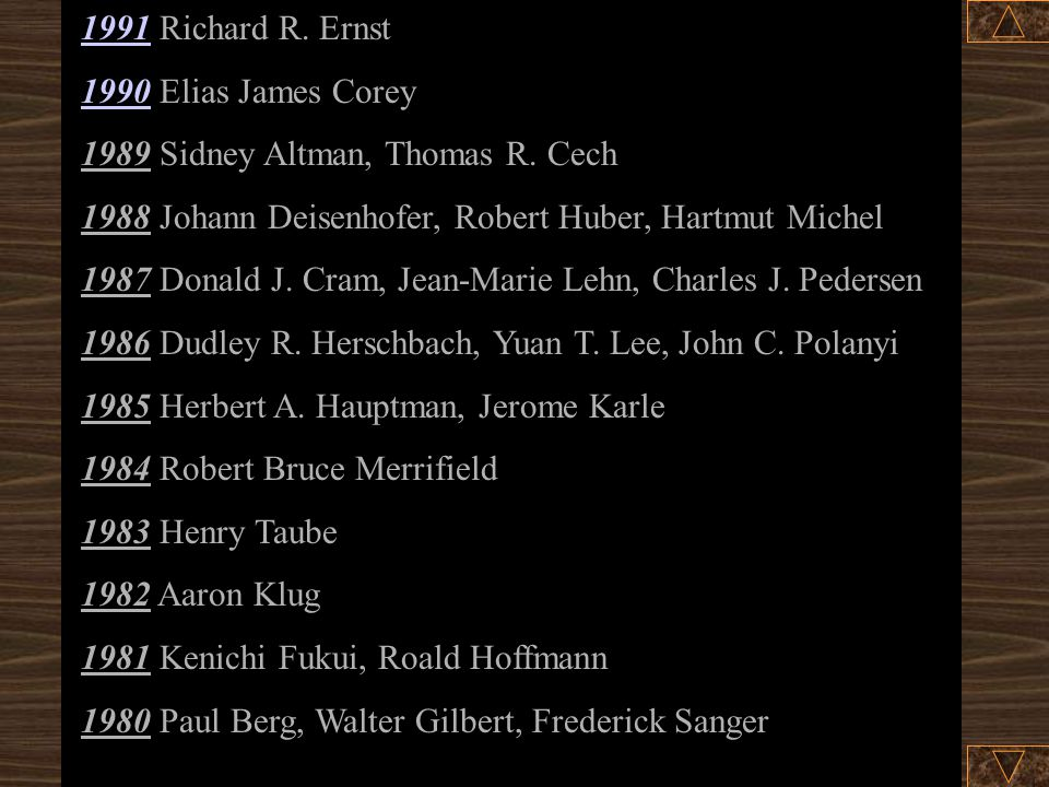 19911991 Richard R.Ernst 19901990 Elias James Corey 1989 Sidney Altman, Thomas R.