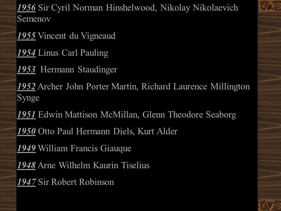 1967 Manfred Eigen, Ronald George Wreyford Norrish, George Porter 1966 Robert S. Mulliken 1965 Robert Burns Woodward 1964 Dorothy Crowfoot Hodgkin 196