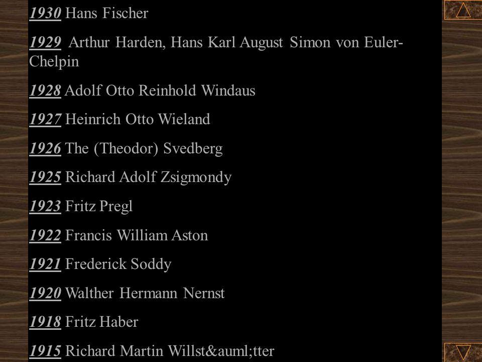 1946 James Batcheller Sumner, John Howard Northrop, Wendell Meredith Stanley 1945 Artturi Ilmari Virtanen 1944 Otto Hahn 1943 George de Hevesy 1939 Ad