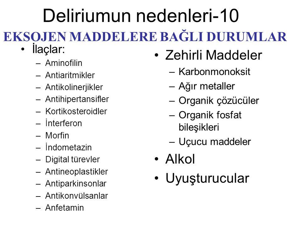 Deliriumun nedenleri-10 İlaçlar: –Aminofilin –Antiaritmikler –Antikolinerjikler –Antihipertansifler –Kortikosteroidler –İnterferon –Morfin –İndometazi