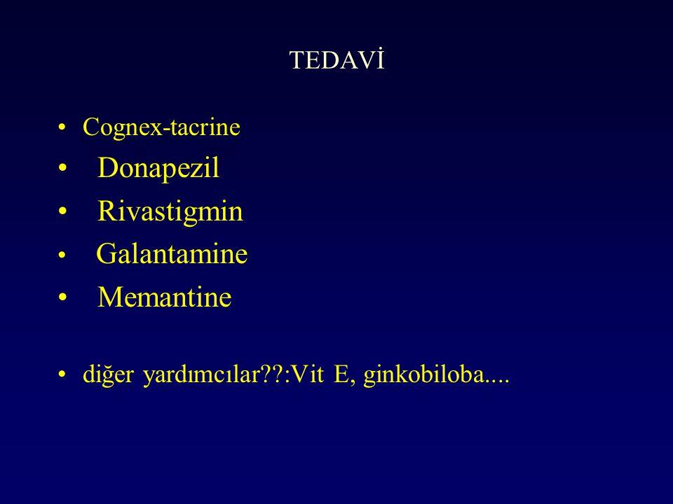 TEDAVİ Cognex-tacrine Donapezil Rivastigmin Galantamine Memantine diğer yardımcılar??:Vit E, ginkobiloba....