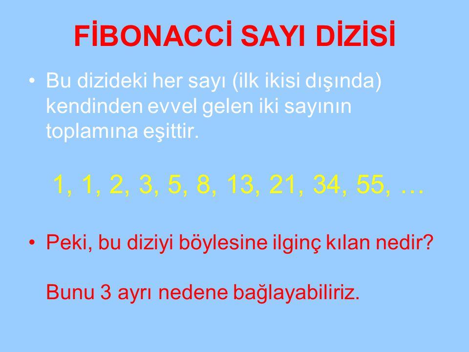 FİBONACCİ SAYI DİZİSİ Bu dizideki her sayı (ilk ikisi dışında) kendinden evvel gelen iki sayının toplamına eşittir. 1, 1, 2, 3, 5, 8, 13, 21, 34, 55,