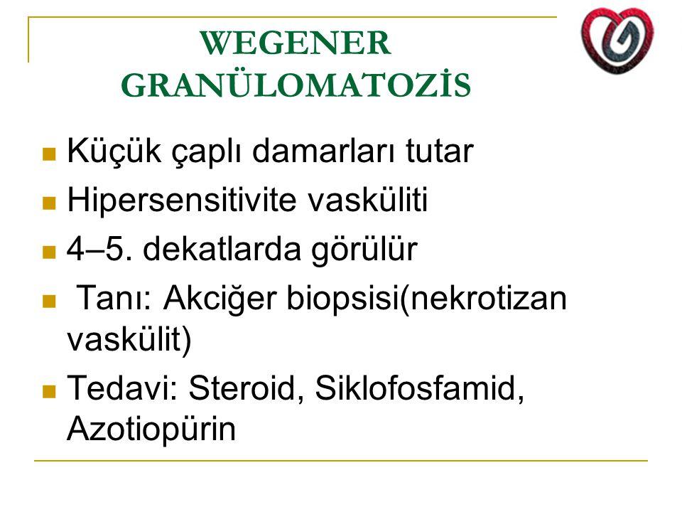 WEGENER GRANÜLOMATOZİS Küçük çaplı damarları tutar Hipersensitivite vasküliti 4–5. dekatlarda görülür Tanı: Akciğer biopsisi(nekrotizan vaskülit) Teda