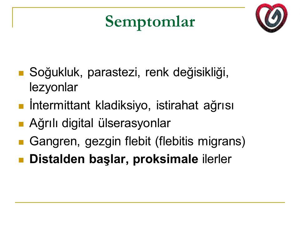 FİBROMUSKÜLER DİSPLAZİ Genç ve orta yaslı kadınlar Müsküler orta çaplı damarlar tutulur :Renal, internal karotis arter, vertebral, subklavian, axiller, external iliak, koroner arterler Etyoloji bilinmemektedir Periadventisyal, damar duvarı katlarında anormal gelisme ve organizasyon Damar segmentinde stenoz ve anevrizma Renal arter tutulursa; renovasküler HT (kadınlarda sık) Karotis ve vertebral arter tutulursa; basağrısı, bas dönmesi, kulak çınlaması ve stroke Viseral tutulumda; abdominal angina, yeme korkusu, kilo kaybı Extremite tutulumunda ; kladikasyon, nabız azalması, blue toe sendromu Arteriografideki string of beads görüntüsü tanı koydurucu Tedavi: -Medikal olarak (Renal FMD – ACE inh.) -balon angioplasti, cerrahi (by pass)