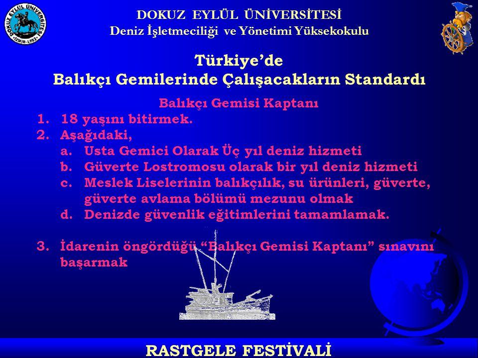DOKUZ EYLÜL ÜNİVERSİTESİ Deniz İşletmeciliği ve Yönetimi Yüksekokulu RASTGELE FESTİVALİ Türkiye'de Balıkçı Gemilerinde Çalışacakların Standardı Balıkçı Gemisi Kaptanı 1.18 yaşını bitirmek.