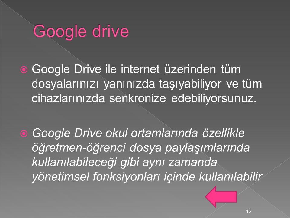  Google Drive ile internet üzerinden tüm dosyalarınızı yanınızda taşıyabiliyor ve tüm cihazlarınızda senkronize edebiliyorsunuz.  Google Drive okul