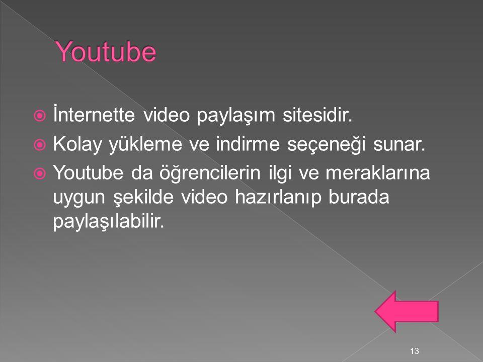  İnternette video paylaşım sitesidir.  Kolay yükleme ve indirme seçeneği sunar.  Youtube da öğrencilerin ilgi ve meraklarına uygun şekilde video ha