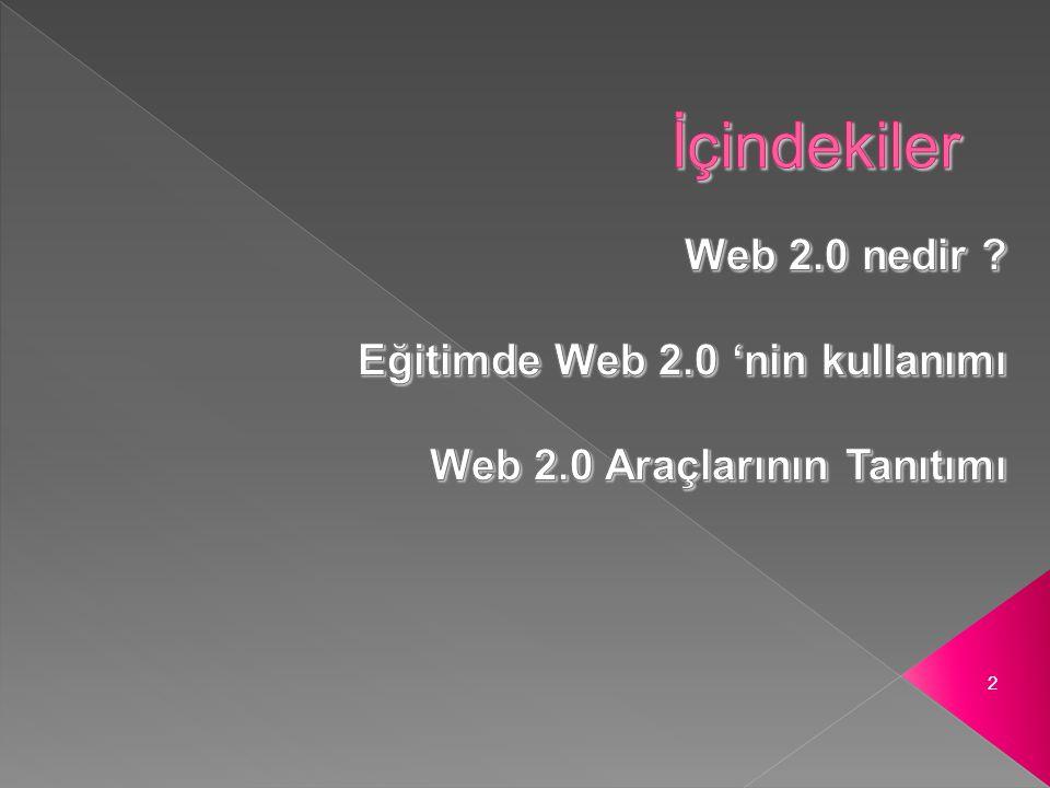  Web 2.0 2004' de kullanılmaya başlayan bir sözcüktür ve ikinci nesil internet hizmetlerini toplumsal iletişim sitelerini, iletişim araçlarını, yani internet kullanıcılarının ortaklaşa ve paylaşarak yarattığı sistemi tanımlar.