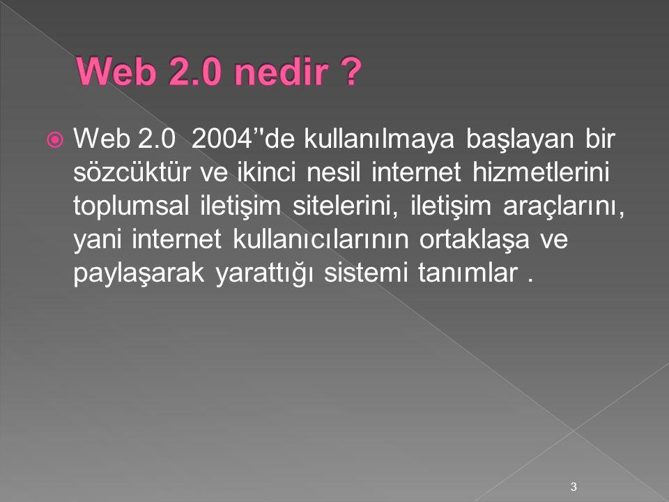  Web 2.0 2004''de kullanılmaya başlayan bir sözcüktür ve ikinci nesil internet hizmetlerini toplumsal iletişim sitelerini, iletişim araçlarını, yani