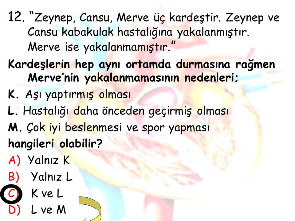 """12. """" Zeynep, Cansu, Merve üç kardeştir. Zeynep ve Cansu kabakulak hastalığına yakalanmıştır. Merve ise yakalanmamıştır."""" Kardeşlerin hep aynı ortamda"""