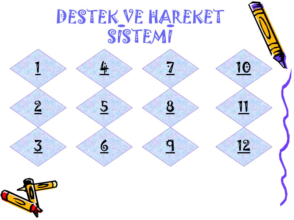 14 25 369 8 7 12 11 10 DESTEK VE HAREKET SISTEMI