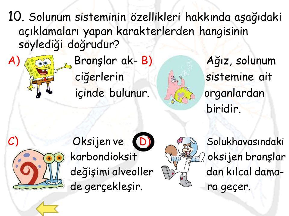 10. Solunum sisteminin özellikleri hakkında aşağıdaki açıklamaları yapan karakterlerden hangisinin söylediği doğrudur? A) Bronşlar ak- B) Ağız, solunu