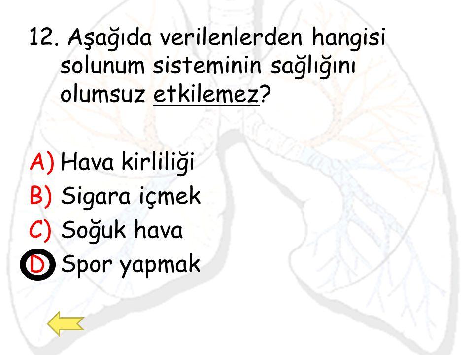 12. Aşağıda verilenlerden hangisi solunum sisteminin sağlığını olumsuz etkilemez? A)Hava kirliliği B)Sigara içmek C)Soğuk hava D)Spor yapmak