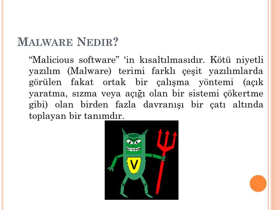 """M ALWARE N EDIR ? """"Malicious software"""" 'in kısaltılmasıdır. Kötü niyetli yazılım (Malware) terimi farklı çeşit yazılımlarda görülen fakat ortak bir ça"""