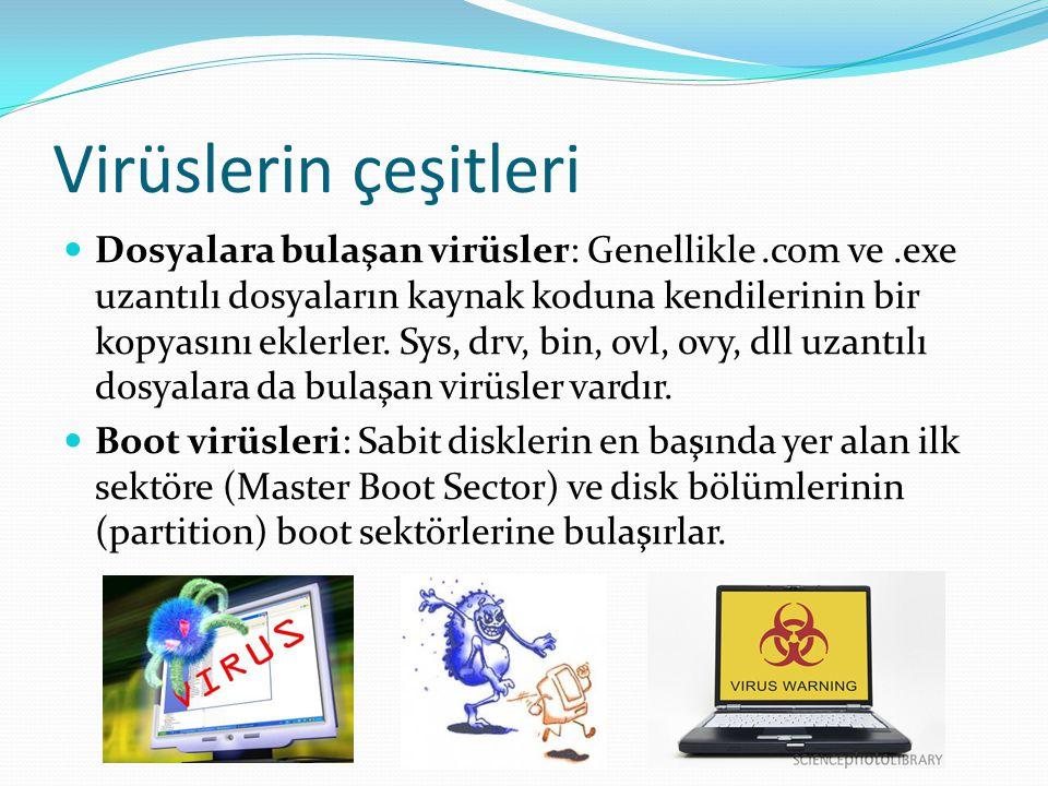 Virüslerin çeşitleri Dosyalara bulaşan virüsler: Genellikle.com ve.exe uzantılı dosyaların kaynak koduna kendilerinin bir kopyasını eklerler. Sys, drv