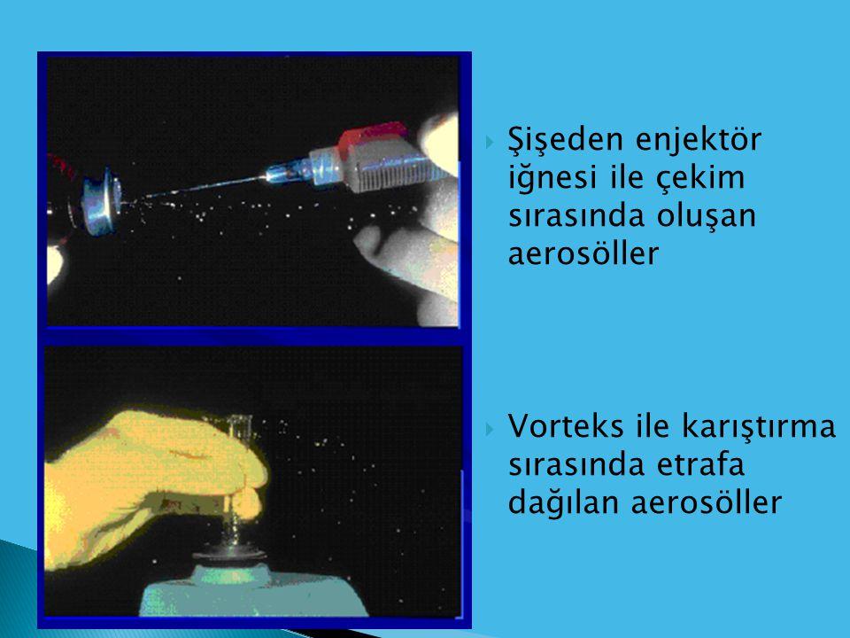  Şişeden enjektör iğnesi ile çekim sırasında oluşan aerosöller  Vorteks ile karıştırma sırasında etrafa dağılan aerosöller