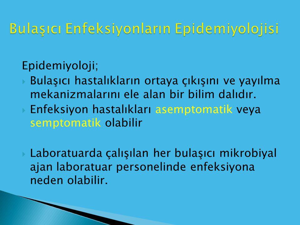 Epidemiyoloji;  Bulaşıcı hastalıkların ortaya çıkışını ve yayılma mekanizmalarını ele alan bir bilim dalıdır.