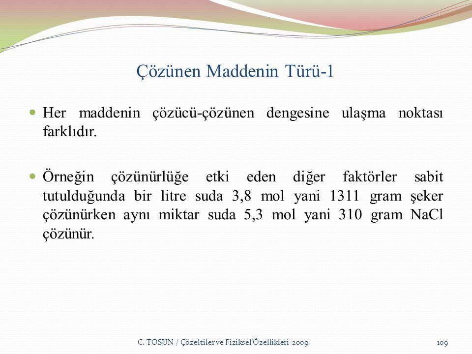 Çözünen Maddenin Türü-1 Her maddenin çözücü-çözünen dengesine ulaşma noktası farklıdır.