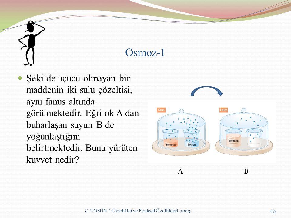 Osmoz-1 Şekilde uçucu olmayan bir maddenin iki sulu çözeltisi, aynı fanus altında görülmektedir.