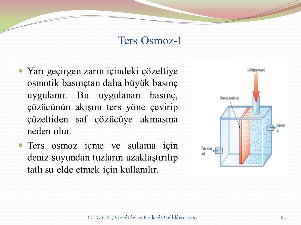 Ters Osmoz-1 Yarı geçirgen zarın içindeki çözeltiye osmotik basınçtan daha büyük basınç uygulanır.