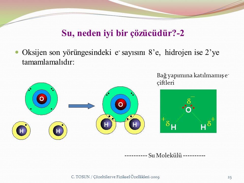 Su, neden iyi bir çözücüdür -2 Oksijen son yörüngesindeki e - sayısını 8'e, hidrojen ise 2'ye tamamlamalıdır: C.