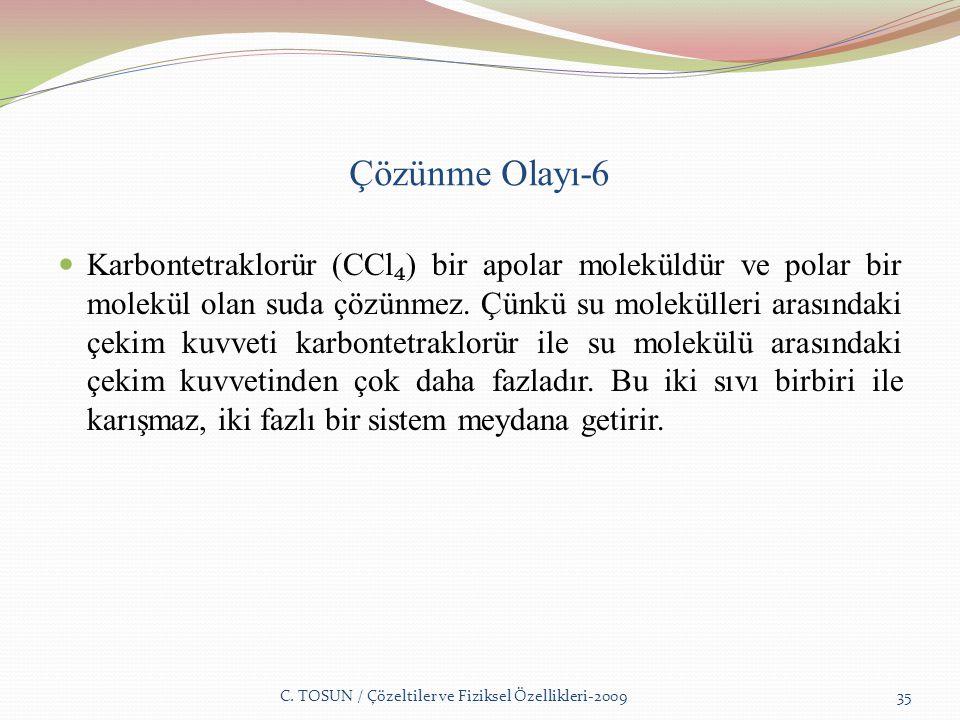 Çözünme Olayı-6 Karbontetraklorür (CCl ₄ ) bir apolar moleküldür ve polar bir molekül olan suda çözünmez.
