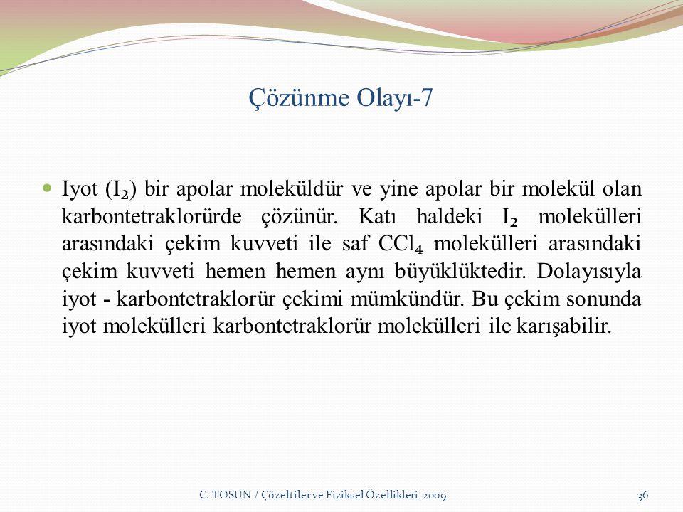 Çözünme Olayı-7 Iyot (I ₂ ) bir apolar moleküldür ve yine apolar bir molekül olan karbontetraklorürde çözünür.