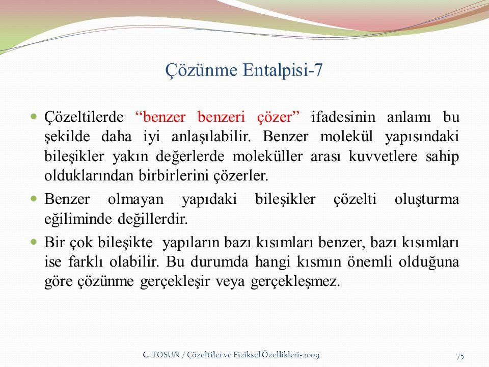 Çözünme Entalpisi-7 Çözeltilerde benzer benzeri çözer ifadesinin anlamı bu şekilde daha iyi anlaşılabilir.