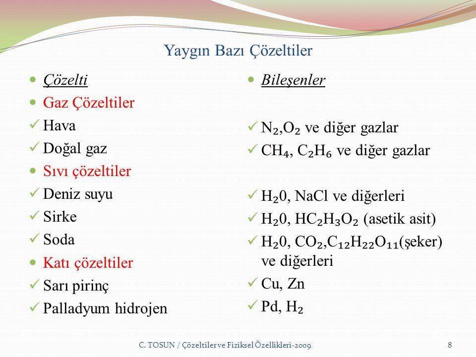Yaygın Bazı Çözeltiler Çözelti Gaz Çözeltiler Hava Doğal gaz Sıvı çözeltiler Deniz suyu Sirke Soda Katı çözeltiler Sarı pirinç Palladyum hidrojen Bileşenler N ₂,O ₂ ve diğer gazlar CH ₄, C ₂ H ₆ ve diğer gazlar H ₂ 0, NaCl ve diğerleri H ₂ 0, HC ₂ H ₃ O ₂ (asetik asit) H ₂ 0, CO ₂,C ₁₂ H ₂₂ O ₁₁ (şeker) ve diğerleri Cu, Zn Pd, H ₂ C.