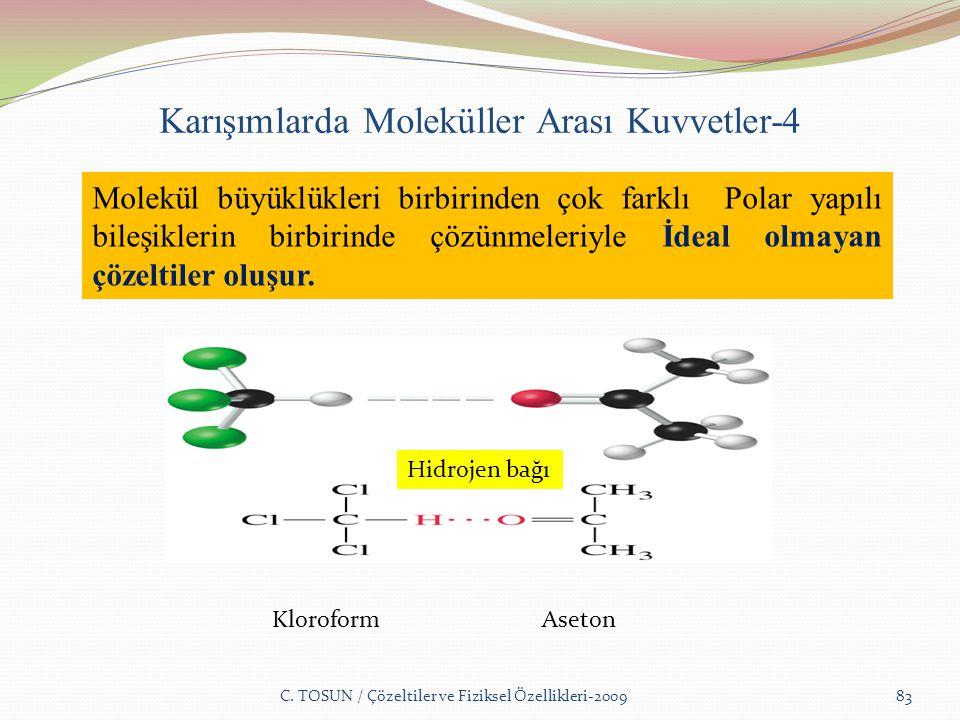 Karışımlarda Moleküller Arası Kuvvetler-4 C.